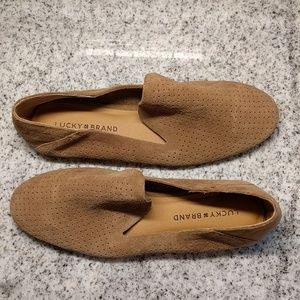 New Lucky Brand suede perforated loafers
